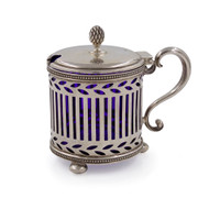 Sterling Silver & Blue Cobalt Glass Mustard Pot | Tiffany & Co