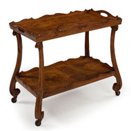 Italian Walnut Two-Tier Serving Cart | Early 20th Century