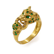 18K Yellow Gold, Diamond and Emerald Panther Ring