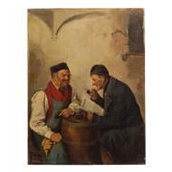 Painting of Men Conversing by Hedwig Oehring (German, 1855-1907)