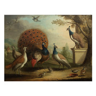 """Peacock, Peahen & Chicks in Classical Landscape"" | attr. Marmaduke Cradock"