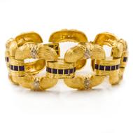 Estate 18k Gold Greek Florentine Open-Link Bracelet   85.2 grams