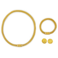 Estate LaPepita 18k Necklace, Bracelet and Earrings Suite   116.16 g
