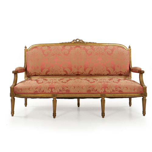 French Louis XVI Style Carved Giltwood Settee