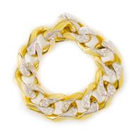 """14 Karat Yellow Gold Diamond Curb Chain Bracelet   79.4 grams, 8"""" long"""