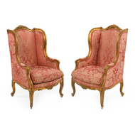 19th Century Pair of Louis XV Style Carved Giltwood Arm Chairs