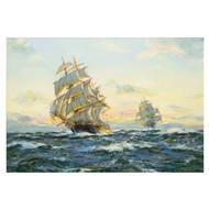 """Sunset - Far Pacific"", clipper ship ""South Australian"" | Henry Scott"