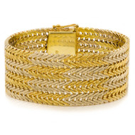 "Estate 14 Karat Yellow & White Gold Bar-Link Bracelet | 6 3/4"" long"