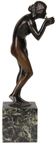 Original Bronze Art Nouveau Sculpture Girl, Victor Seifert (German, 1870-1953)