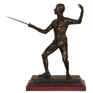 "Edouard Drouot ""En Garde"" Original Antique Bronze Sculpture Fencing Sword c.1900"