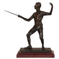 """Edouard Drouot """"En Garde"""" Original Antique Bronze Sculpture Fencing Sword c.1900"""