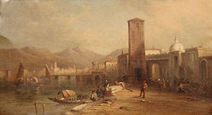 Alfred Pollentine (British, 1836-90) Antique Grand Canal Venice Oil Painting
