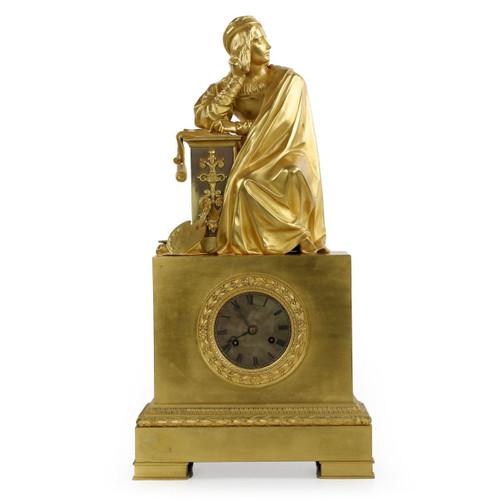 Fine Empire Gilt Bronze Figural Clock, Honoré Pons