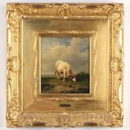 Laurent De Beul (Dutch, 1821-72) Antique Oil Painting of Cow Grazing, Signed