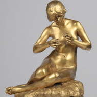 "Alexandre Clerget (France, 1856-1931) ""Consultation"" Gilt Bronze Sculpture c1900"