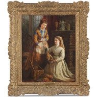 Thomas Faed (Scottish, 1826-1900) Antique Oil Painting