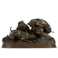 "Pierre Jules Mene (French, 1810-71) Antique Bronze Sculpture ""Dogs Ferreting"""