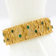 Vintage Modernist 14K Yellow Gold Bracelet with Emeralds