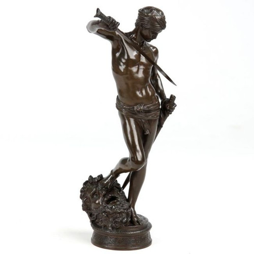 "Antonin Mercie (French, 1845-1916) Antique Bronze Sculpture ""David Vainqueur"""