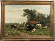 Fine Hendrick Savry (Netherlands, 1823-1907) Cattle Scene Antique Oil Painting