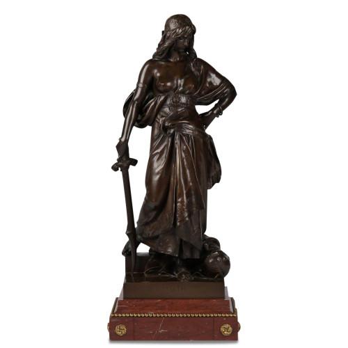 "Eugene Aizelin (Paris, 1821-1902) ""Judith"" Original Antique Bronze Sculpture"