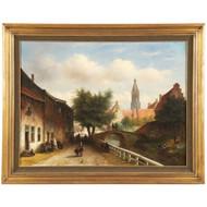 Petrus Gerardus Vertin (Dutch, 1819-1893) Antique Oil Painting of Village c.1856