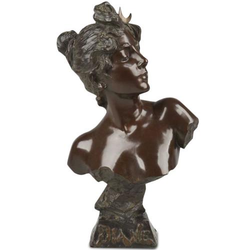 """Emmanuel Villanis (French, fl. 1880-1920) Art Nouveau Bronze Sculpture """"Diane"""""""