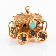 Victorian 18K Yellow Gold Carriage Charm Pendant | Circa 1890