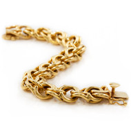 "14K Gold Double-Link Bracelet w/ Heart Clasp | 7 1/2"" long, 74.7 grams"