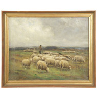 Fine John Carleton Wiggins (American, 1848-1932) Antique Painting of Dutch Sheep
