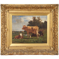 Emil van Marcke (French, 1827-90) Fine Antique Oil Painting of Cows at Pasture