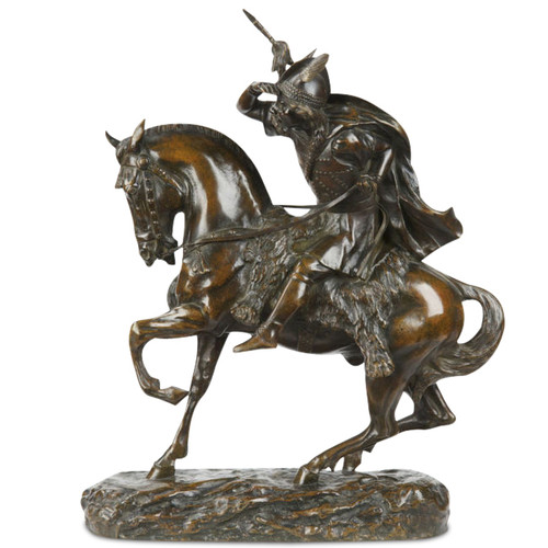 Thomas Cartier (French, 1879-1943) Antique Bronze, Nordic Warrior on Horseback