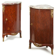 Pair of French Louis XV Style Parquetry Ecoignures 19th Century Antique Cabinets