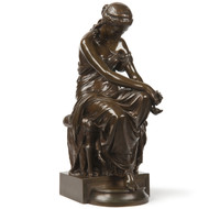 "Eugene Aizelin (French, 1821-1902) Antique Bronze Sculpture ""Psyche"" Barbedienne"