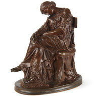 "Pierre Jules Cavelier (French, 1814-94) Antique Bronze Sculpture ""Penelope"", Barbedienne"