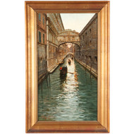 Fausto Giusto (Italian, 1867-1941) Antique Venetian Painting c. 1897