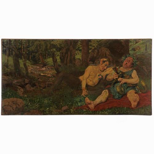 """Woldemar von Reichenbach Oil Painting, """"Bacchanale"""" c. 1893"""