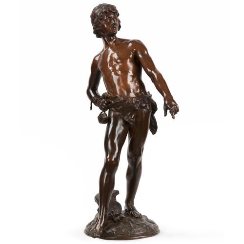 """Louis Auguste Moreau (French, 1855-1919) Bronze Sculpture """"David"""""""