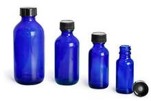 4 oz 120 ml Blue Boston Round Bottles