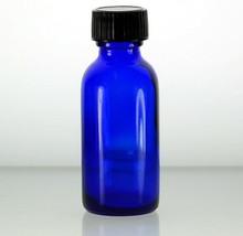 1 oz, 30 ml Cobalt Blue Boston Round Glass Bottle w/Caps