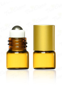 1 ml Mini Glass Vials w/Steel Roll on Ball & Metal Caps
