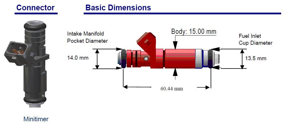 60 lb/hr Siemens Deka Fuel Injectors High Impedance (Long Style) EV1  Connector