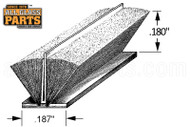 """Pile Weatherstripping (w Plastic Fin) (3/16"""" Backing) (.180"""" (~3/16"""") Pile) (White)"""