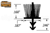 Kerf-Inserted Pile Weatherstripping (w Plastic Fin) (5/32'' Pile)