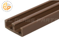 """Lower Track for Sliding Glass or Wood Door Panels - For 1/4"""" Thick Material (Brown)"""