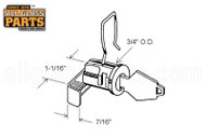 Mail Box Lock (Mill) (7/16'' Length) (1-1/16'' Height)