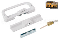 "Keyed Sliding Glass Door Handle Set (6-9/16"" Hole Spacing) (White)"