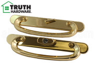 Sliding Glass (Patio) Door Handle w Key (Truth Hardware) (Multiple Hole Spacing) (Brass)