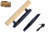 """Sliding Glass Door Handle (4"""" Hole Spacing) (Black) (Wooden Handle)"""