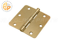 3-1/2'' x 3-1/2'' Butt Hinge (1/4'' Radius Corners) (Standard Pin) (Polished Brass)